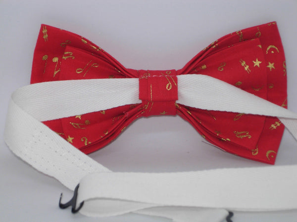 Music Bow tie / Mini Metallic Gold Musical Notes on Red / Pre-tied Bow tie