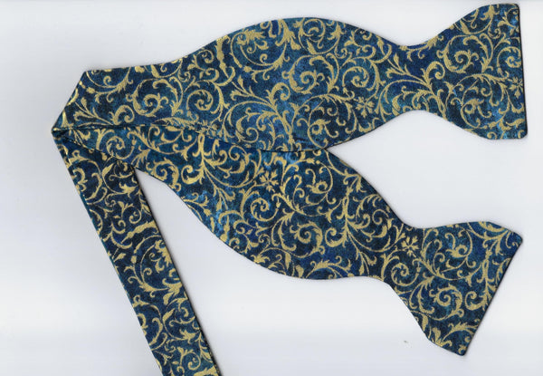 Gold & Teal Bow tie / Metallic Gold Feathery Curls / Self-tie & Pre-tied Bow tie
