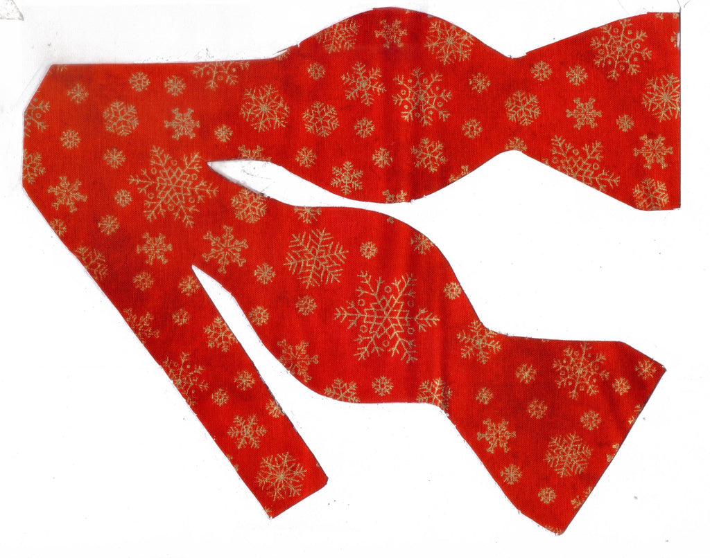 Christmas Bow tie / Metallic Gold Snowflakes on Red / Self-tie & Pre-tied Bow tie