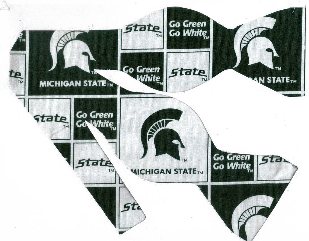 Spartans Bow tie (Blocks Dark Green) Michigan State / College / Self-tie & Pre-tied Bow tie - Bow Tie Expressions
