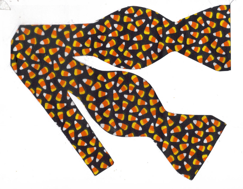 MINI CANDY CORN ON BLACK BOW TIE - EVERYONE'S FAVORITE! - Bow Tie Expressions  - 1