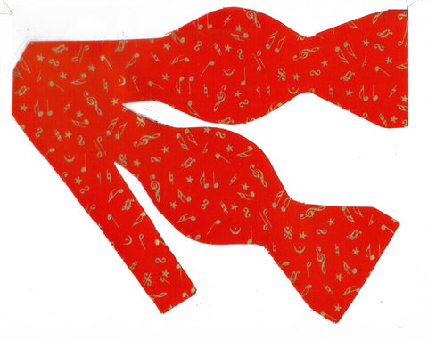 Music Bow tie / Mini Metallic Gold Musical Notes on Red / Self-tie & Pre-tied Bow tie - Bow Tie Expressions