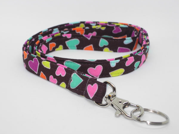 Happy Hearts Lanyard / Mini Hearts on Brown / Valentine Key Fob, Heart Key Chain, Cell Phone Wristlet - Bow Tie Expressions