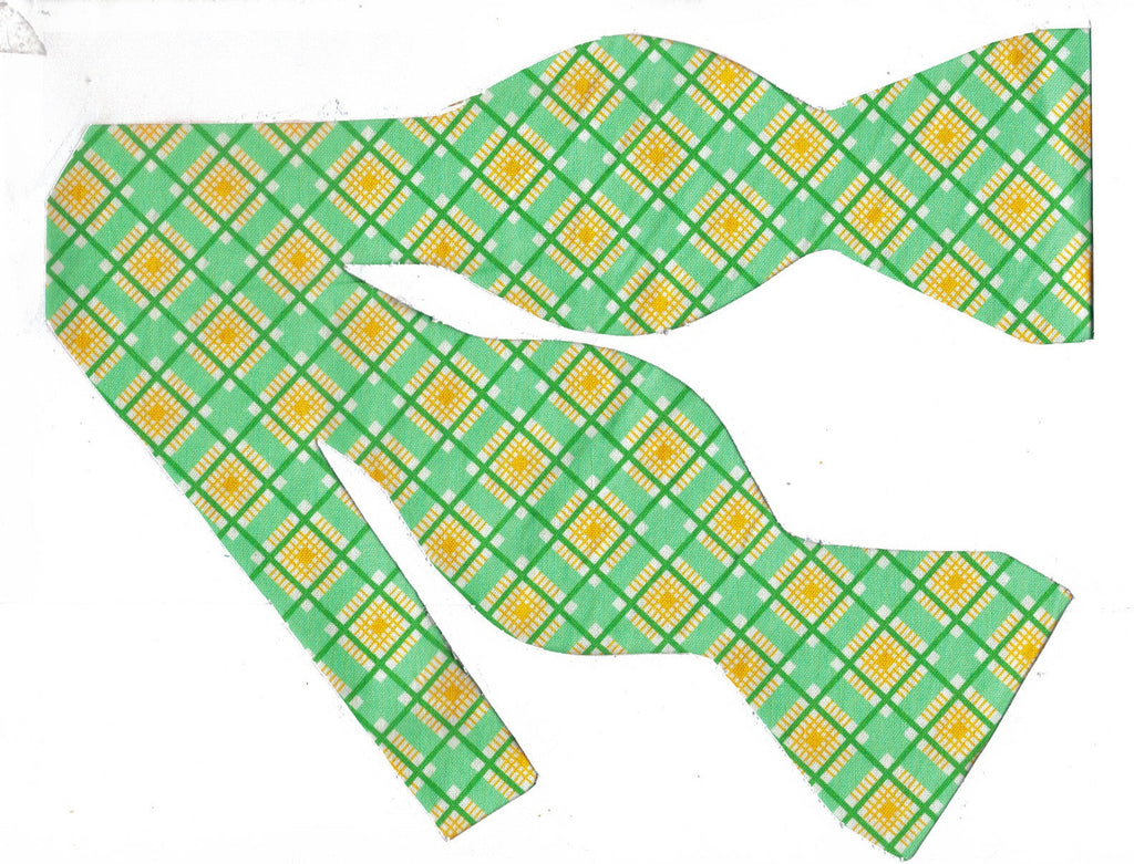 SUNNY SPRING PLAID BOW TIE - MINT GREEN, DARK GREEN & YELLOW DIAGONAL PLAID - Bow Tie Expressions