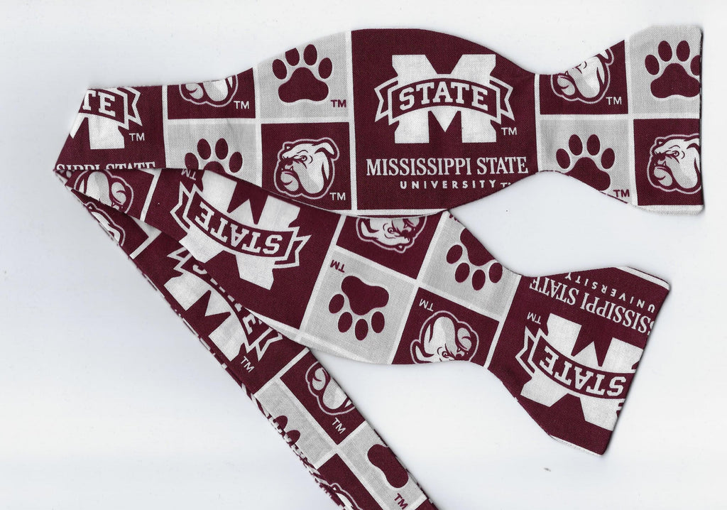 "Mississippi Bow tie (Blocks) MSU Bulldogs ""Bully"" / College / Self-tie & Pre-tied Bow tie - Bow Tie Expressions"