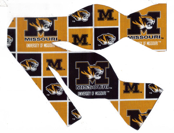 MISSOURI TIGERS BOW TIE (BLOCKS) with Truman the Tiger - Bow Tie Expressions