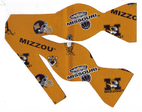 MISSOURI TIGERS BOW TIE (ICONS ON GOLD) with Truman the Tiger - Bow Tie Expressions