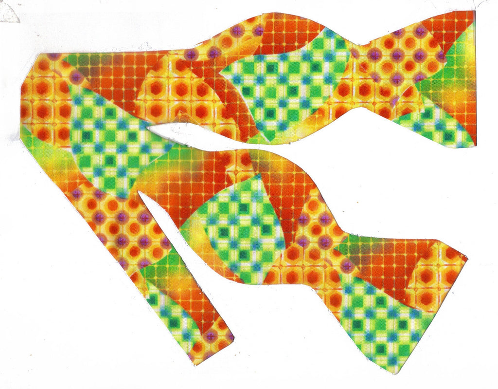 MOSAIC MEDLEY BOW TIE - RED, ORANGE, GREEN & YELLOW IN AN ABSTRACT DESIGN - Bow Tie Expressions  - 1