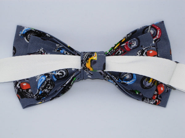 Motorcycle Bow tie / Dirt Bikes on Gray / Biker Bow tie / Self-tie & Pre-tied