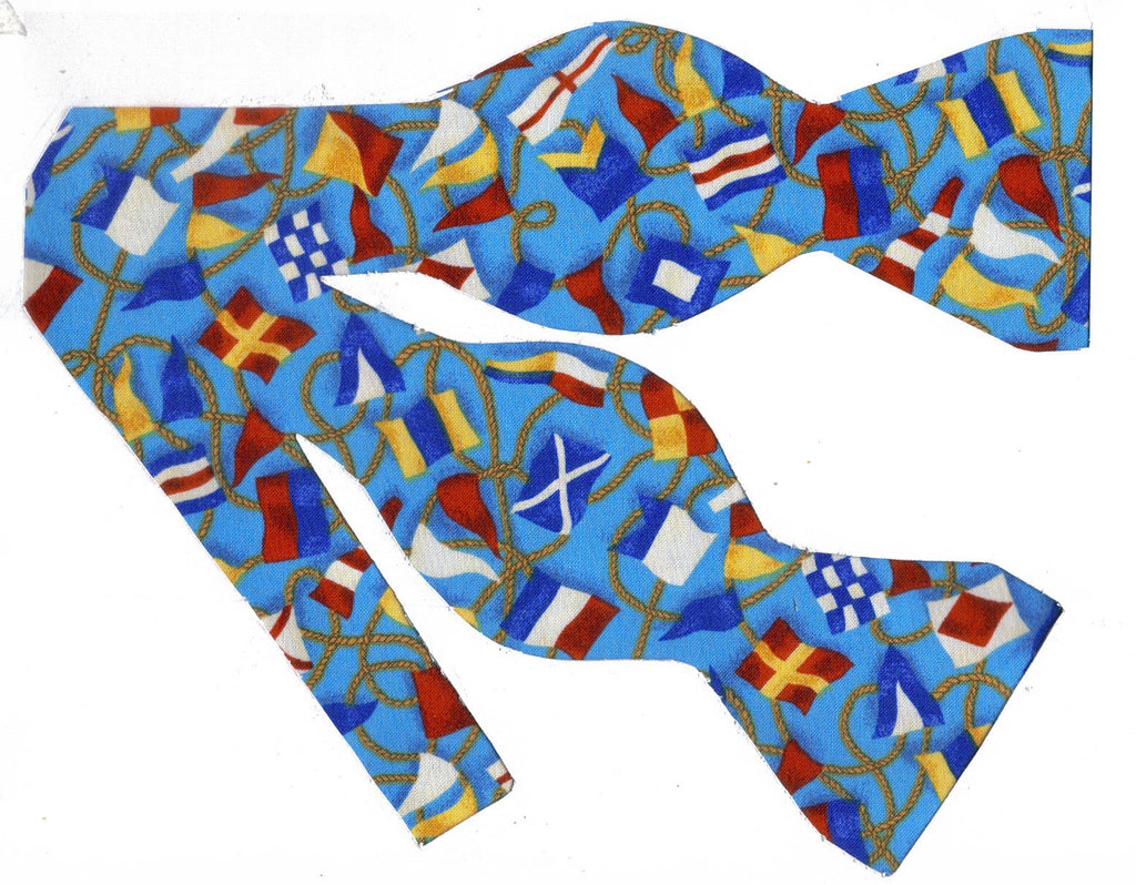 SHIPS AHOY BOW TIE - COLORFUL SIGNAL FLAGS ON DEEP SEA BLUE - Bow Tie Expressions  - 1