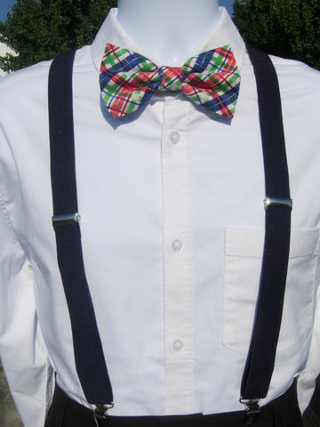 Christmas Snowy Plaid Bow Tie & Suspender Set - Navy Blue Suspenders - Mens MED/LG/XL, Boys SMALL - Bow Tie Expressions