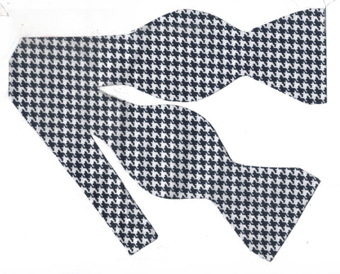 Houndstooth Bow tie / Indigo Blue & White Houndstooth / Self-tie & Pre-tied Bow tie - Bow Tie Expressions