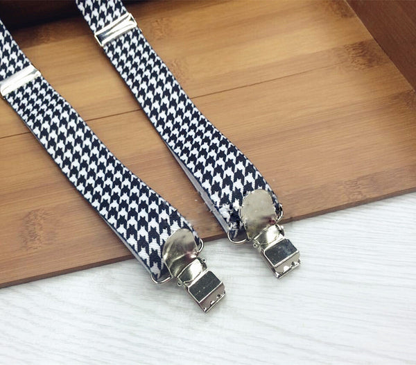 Indigo Blue Houndstooth Suspenders - Boys Suspenders - Ages 6mo. - 6yrs. - Bow Tie Expressions