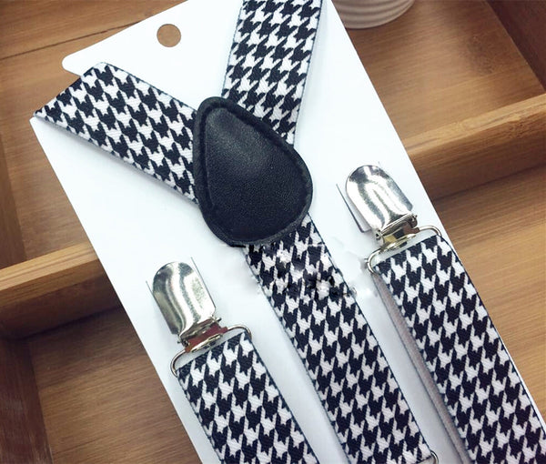 Indigo Blue Houndstooth Bow Tie & Suspender Set - Boys Suspenders - Ages 6mo. - 6yrs. - Bow Tie Expressions