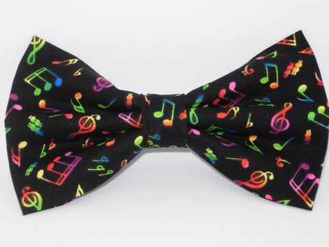 Music Bow tie / Neon Musical Notes on Black / Recital / Pre-tied Bow tie - Bow Tie Expressions