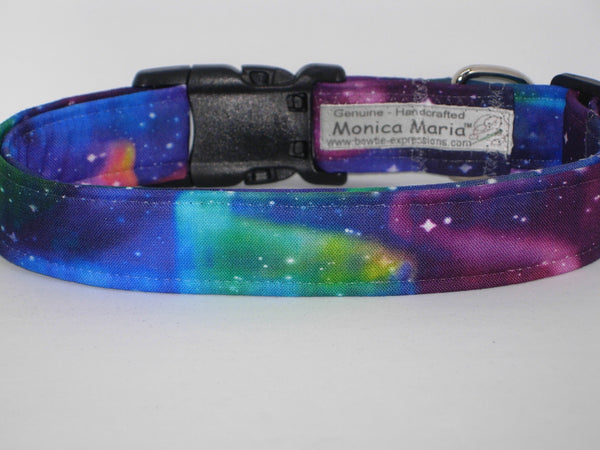 Northern Lights Dog Collar / Blue, Pink, Purple Wavy Lights & Stars / Matching Dog Bow tie - Bow Tie Expressions