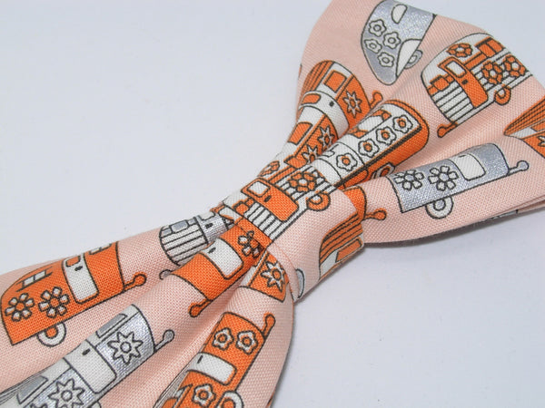 Happy Camper Bow tie / Retro Travel Campers on Orange / Self-tie & Pre-tied Bow tie - Bow Tie Expressions