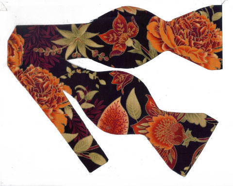 Autumn Bow tie / Cinnamon, Toffee & Orange Flowers & Vines / Metallic Gold Trim / Self-tie & Pre-tied Bow tie - Bow Tie Expressions
