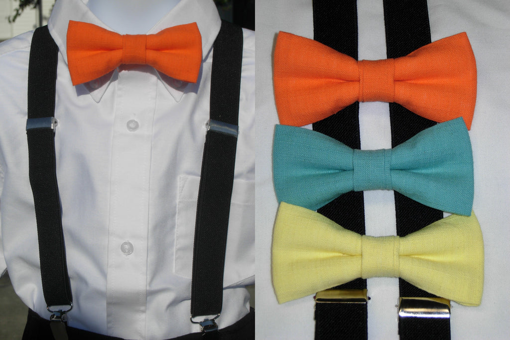 Linen Bow Tie & Suspender Set - Orange, Turquoise & Lemon Yellow - Boys Black Suspenders - Ages 6mo. - 6yrs. - Bow Tie Expressions