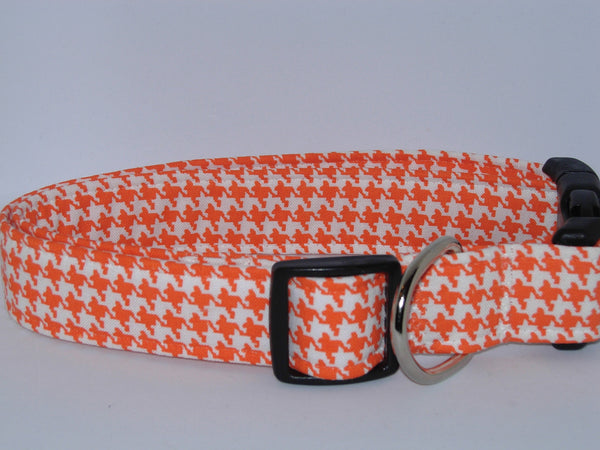 Orange & White Dog Collar / Houndstooth Collar / Matching Dog Bow tie - Bow Tie Expressions