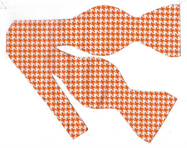 Orange & White Houndstooth Bow Tie
