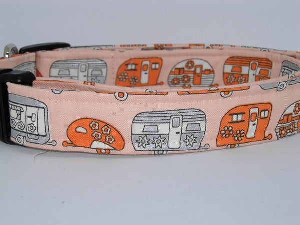 Happy Camper Dog Collar / Retro Travel Campers / Orange & Metallic Silver / Matching Dog Bow tie - Bow Tie Expressions