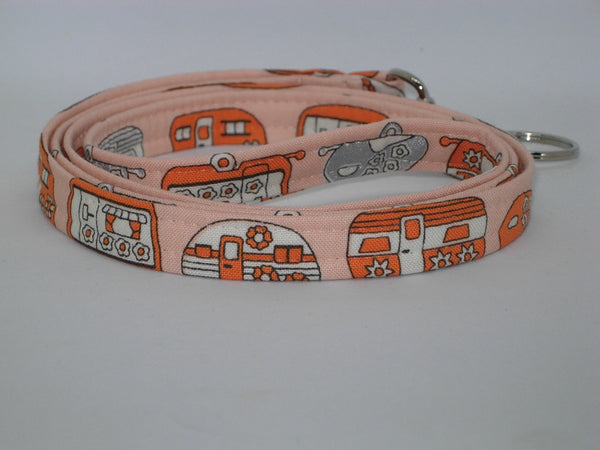 Happy Camper Lanyard / Retro Campers, Orange & Silver / Vacation Key Fob / Cell Phone Wristlet / Retro Key Chain / Cool Key Fob