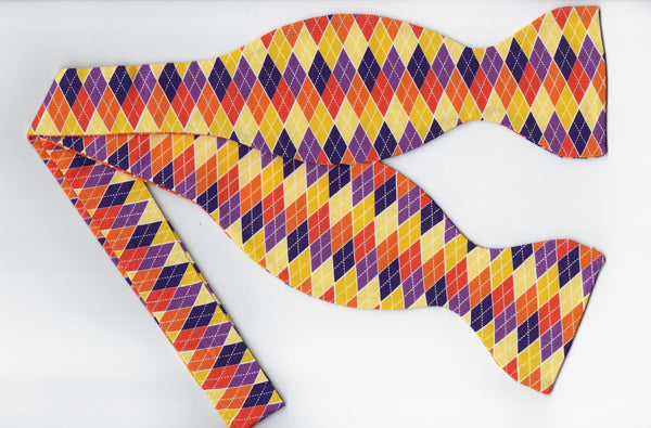 Trendy Autumn Argyle Bow tie / Orange, Yellow & Purple / Self-tie & Pre-tied Bow tie