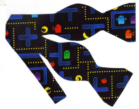 CLASSIC PAC MAN VIDEO GAME ON BLACK BOW TIE - CHOMP! CHOMP! - Bow Tie Expressions  - 1