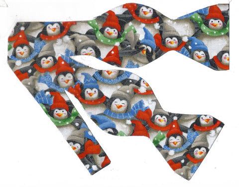 Christmas Bow tie / Happy Winter Penguins / Self-tie & Pre-tied Bow tie