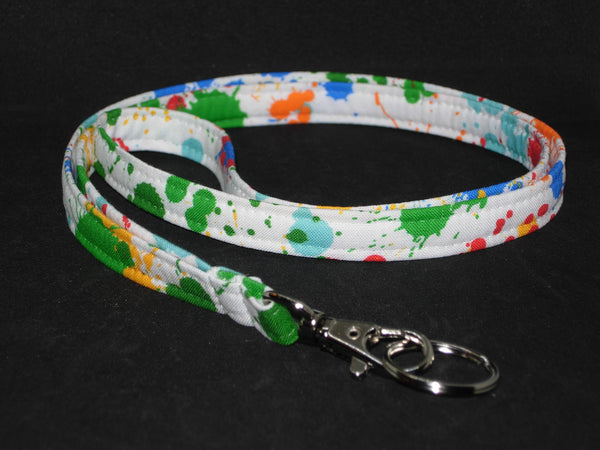 Paint Ball Lanyard / Paint Splatter on White / Artist Gift / Key Chain, Key Fob, Cell Phone Wristlet - Bow Tie Expressions