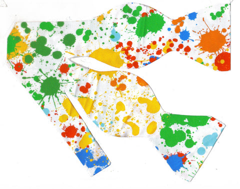 Paintball Splatter Bow tie / Colorful Paint Splatter on White / Self-tie & Pre-tied Bow tie