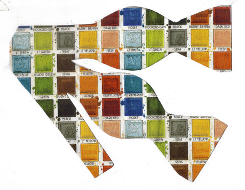 PAINTER'S PALETTE BOW TIE - RED, ORANGE, YELLOW, GREEN, BROWN, BLUE & GRAY - Bow Tie Expressions