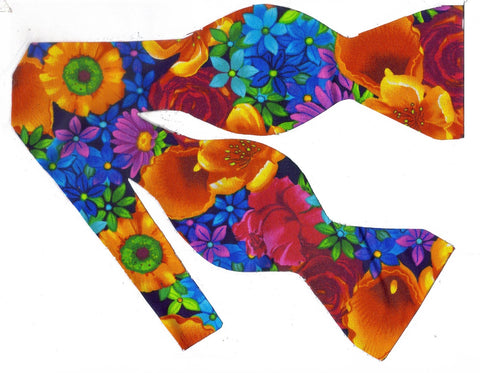 Bright Flowers Bow tie / Red, Orange, Blue & Purple Flowers on Black / Self-tie & Pre-tied Bow tie