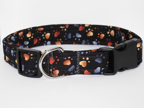 Puppy Paws Dog Collar / Colorful Dog Prints on Black / Matching Dog Bow tie - Bow Tie Expressions