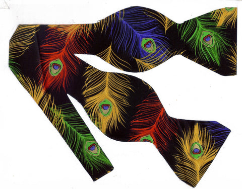 COLORFUL PEACOCK FEATHERS WITH METALLIC GOLD HIGHLIGHTS BOW TIE - Bow Tie Expressions  - 1