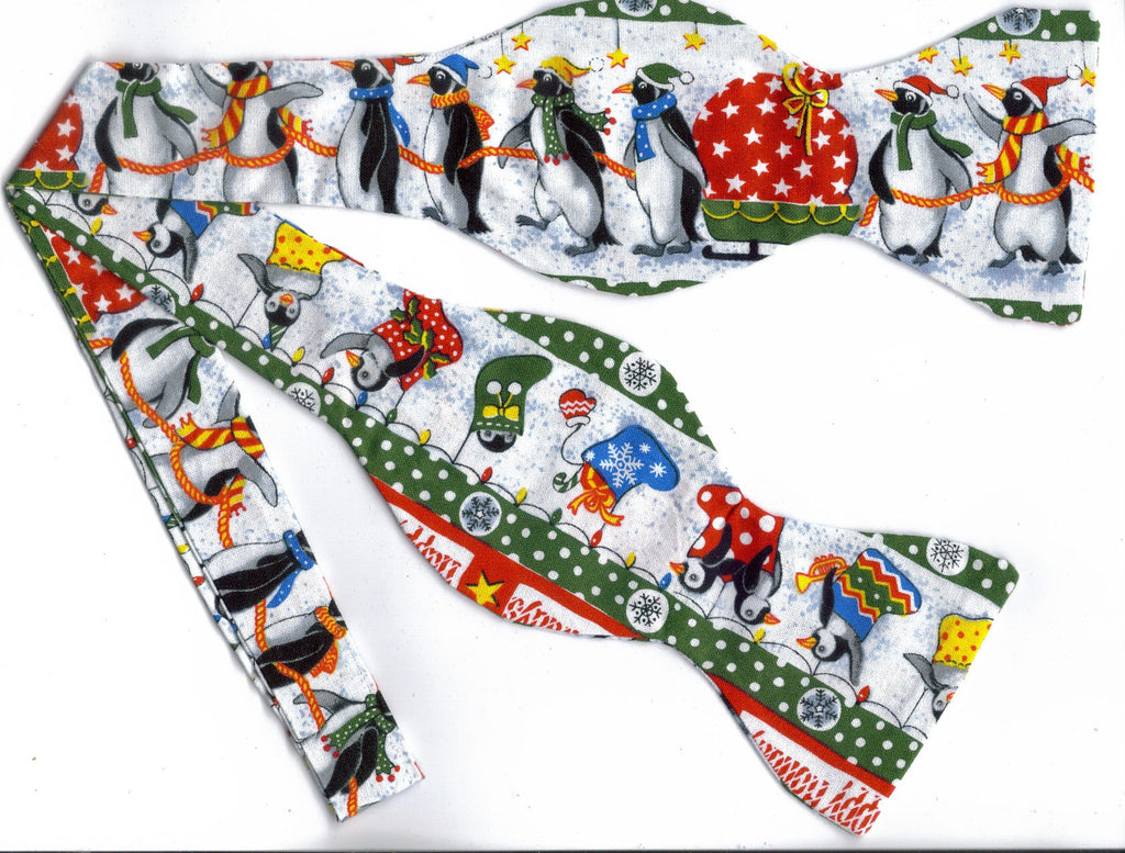 PENGUINS ON PARADE BOW TIE - PENGUINS & CHRISTMAS STOCKINGS WITH GREEN TRIM - Bow Tie Expressions  - 1