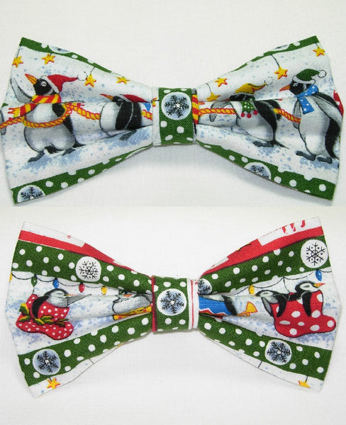 PENGUINS ON PARADE PRE-TIED BOW TIE - PENGUINS & CHRISTMAS STOCKINGS WITH GREEN TRIM - Bow Tie Expressions  - 1