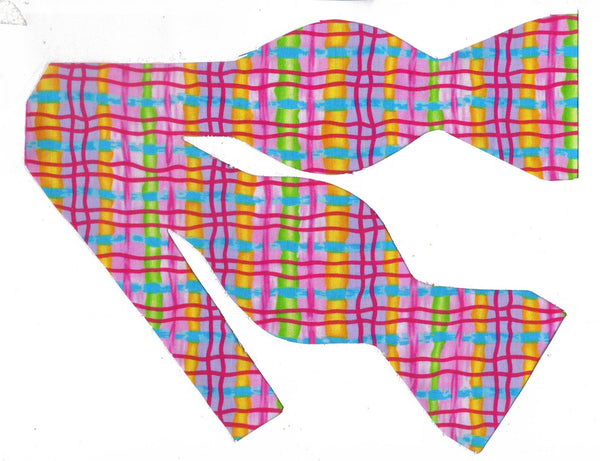 WHIMSICAL NEON PLAID BOW TIE - BRIGHT BERRY RED, GOLD, PINK, GREEN, LAVENDER & AQUA BLUE - Bow Tie Expressions