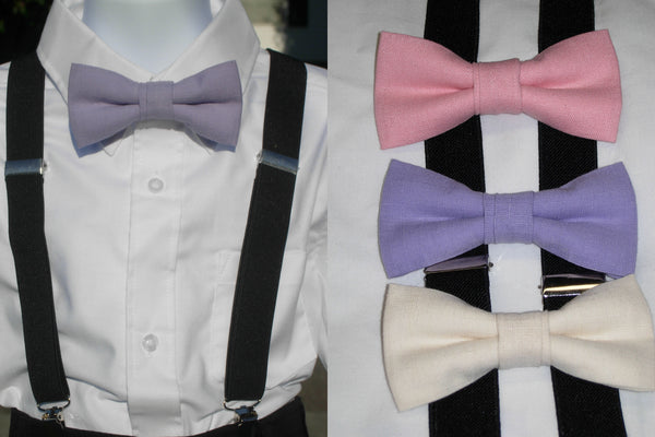 Linen Bow Tie & Suspender Set - Pink, Lavender & Cream - Boys Black Suspenders - Ages 6mo. - 6yrs. - Bow Tie Expressions