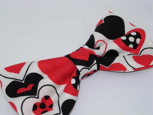 Valentine Hearts Bow tie / Black & Red Hearts with Polka Dots / Pre-tied Bow tie - Bow Tie Expressions