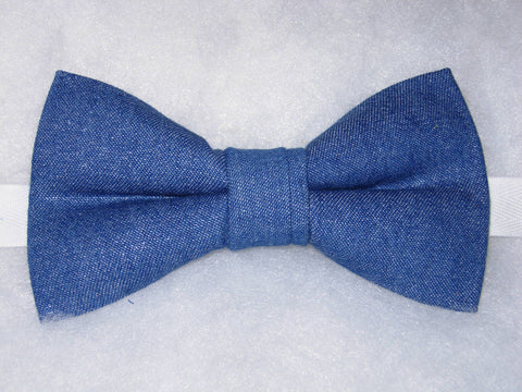 Blue Denim Bow tie / Glittering Blue Denim / Solid Color / Self-tie & Pre-tied Bow tie - Bow Tie Expressions