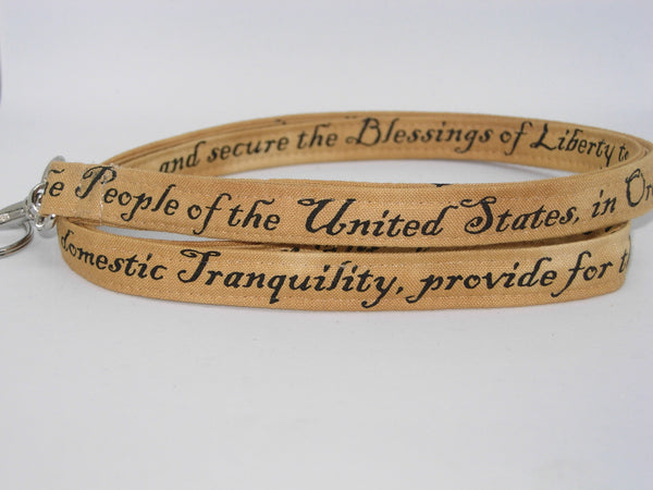 American History Teacher Lanyard / Preamble to the Constitution / Key Chain, Key Fob, Cell Phone Wristlet - Bow Tie Expressions