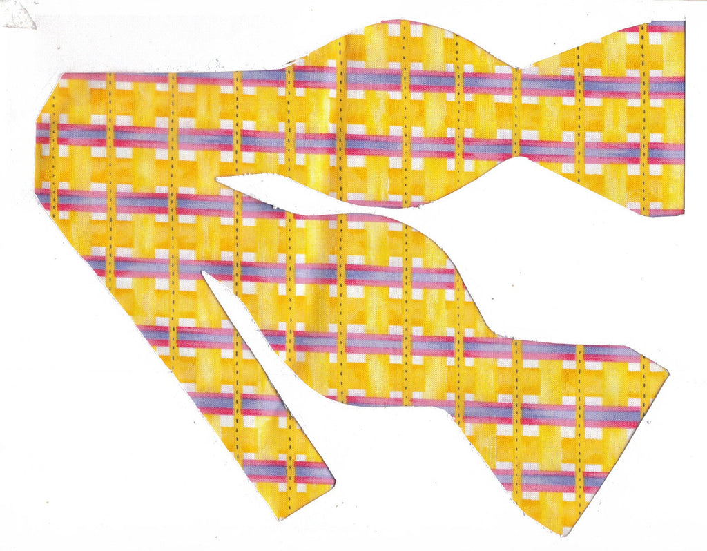 SUNSHINE WEAVE - YELLOW PLAID WITH PURPLE & PINK BANDS - Bow Tie Expressions