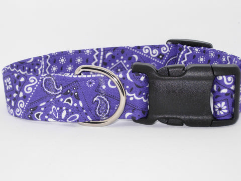 Bandana Dog Collar / Purple Bandana / Western Rodeo Cowboy / Matching Dog Bow tie - Bow Tie Expressions