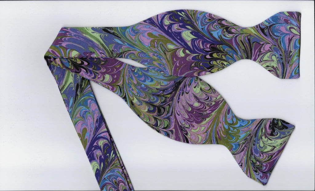 Abstract Art Bow Tie / Flowing Colors / Purple, Pink, Blue, Green / Self-tie & Pre-tied Bow tie