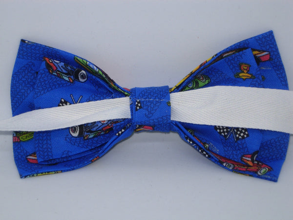 Racing Bow tie / Race Cars on Blue / Drag Racing / NASCAR / Self-tie & Pre-tied Bow tie - Bow Tie Expressions