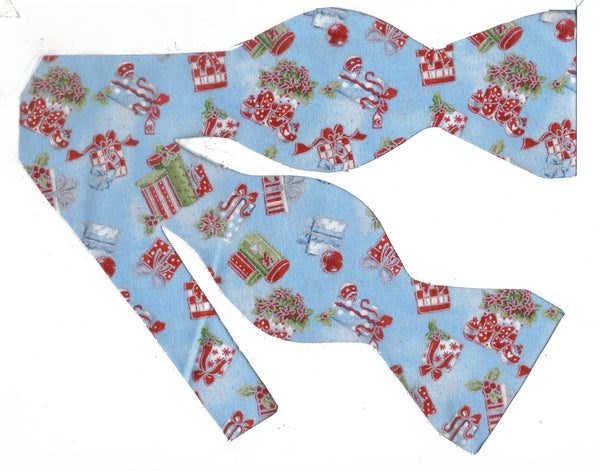 Christmas Bow tie / Red & Green Christmas Gifts on Light Blue / Self-tie & Pre-tied Bow tie - Bow Tie Expressions