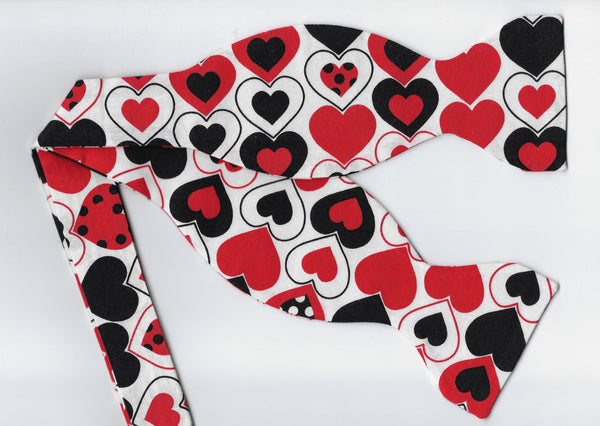 Valentine Hearts Bow tie / Black & Red Hearts with Polka Dots / Self-tie & Pre-tied Bow tie - Bow Tie Expressions
