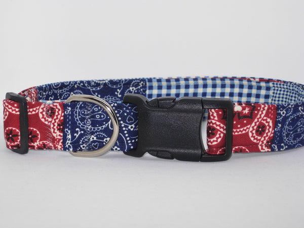 Bandana Dog Collar / Red, White & Blue Patchwork Bandana / Western Rodeo Cowboy / Matching Dog Bow tie - Bow Tie Expressions
